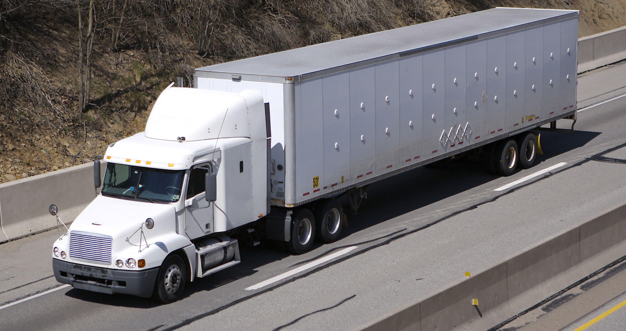 Semi-Truck on highway, financed by OBL Finance