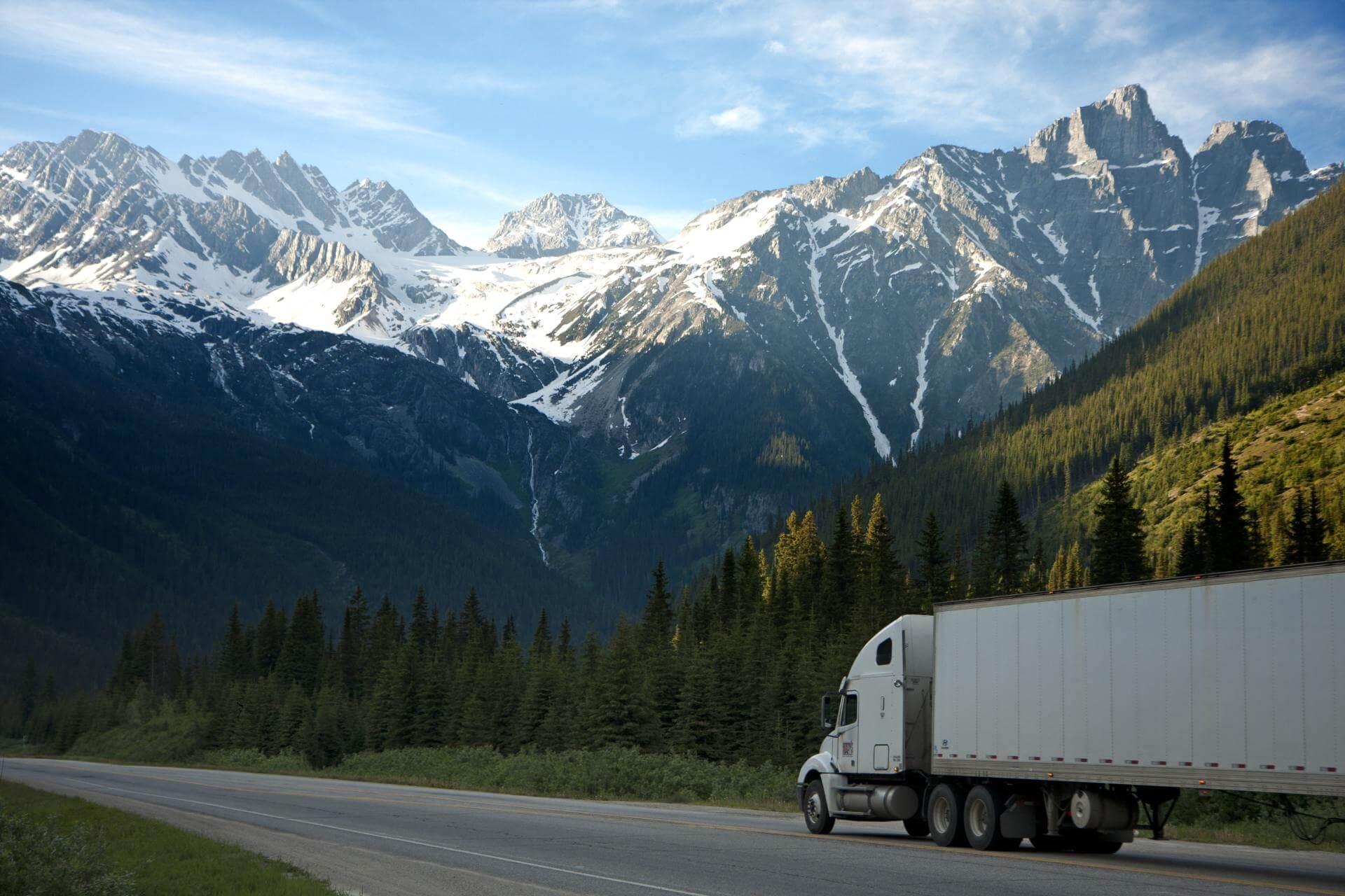 truck going through a mountain range, financing help through OBL Financial